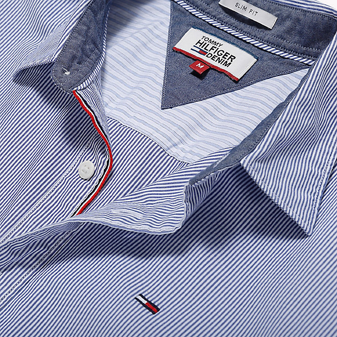 TOMMY JEANS Poplin Stripe Shirt - BRIGHT COBALT MULTI - TOMMY JEANS Clothing - detail image 5