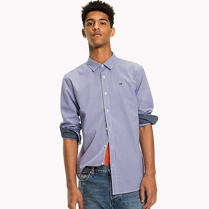 TOMMY JEANS Poplin Stripe Shirt - BRIGHT COBALT MULTI - TOMMY JEANS Clothing - main image