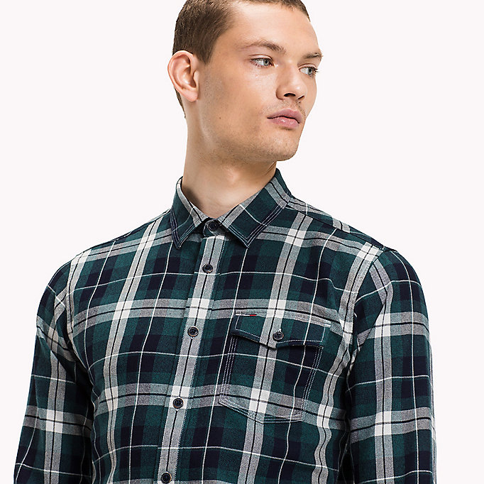 TOMMY JEANS Cotton Regular Fit Shirt - SALSA / MULTI - TOMMY JEANS Clothing - detail image 3