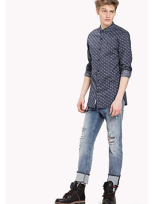 TOMMY JEANS Cotton Blend Slim Fit Shirt - DARK INDIGO / MARSHMALLOW - TOMMY JEANS Shirts - main image