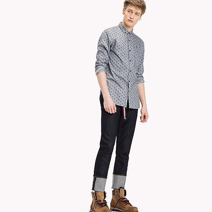 TOMMY JEANS Cotton Blend Slim Fit Shirt - DARK INDIGO / MARSHMALLOW - TOMMY JEANS Clothing - main image