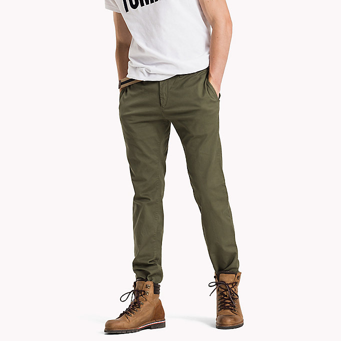 TOMMY JEANS Cotton Stretch Slim Fit Trousers - AMBER GOLD - TOMMY JEANS Clothing - main image