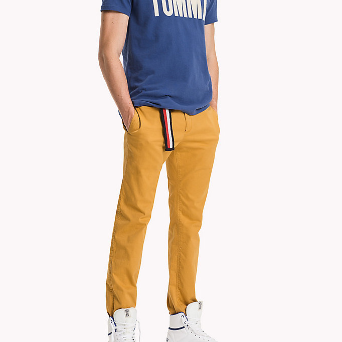 TOMMY JEANS Cotton Stretch Slim Fit Trousers - TRUE NAVY - TOMMY JEANS Clothing - main image