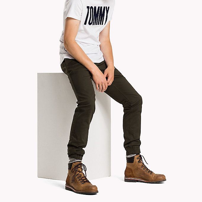TOMMY JEANS Cotton Stretch Tapered Fit Trousers - INCENSE - TOMMY JEANS Clothing - main image