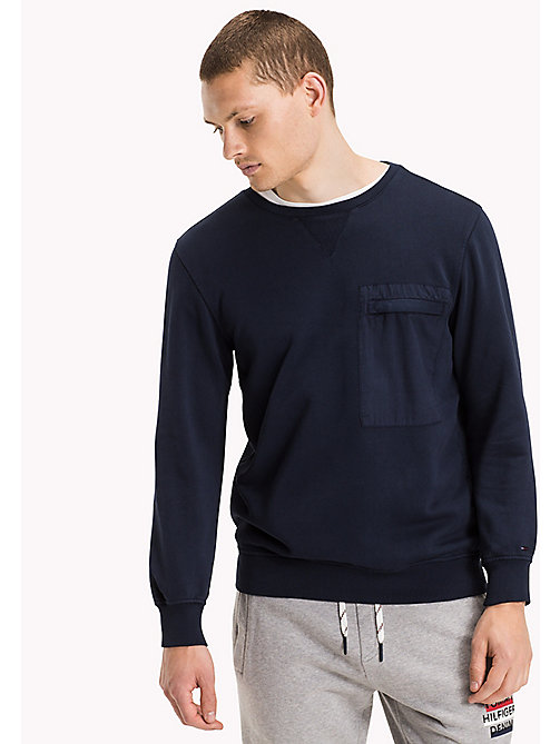 TOMMY JEANS Cotton Crew Neck Sweatshirt - BLACK IRIS - TOMMY JEANS Clothing - main image