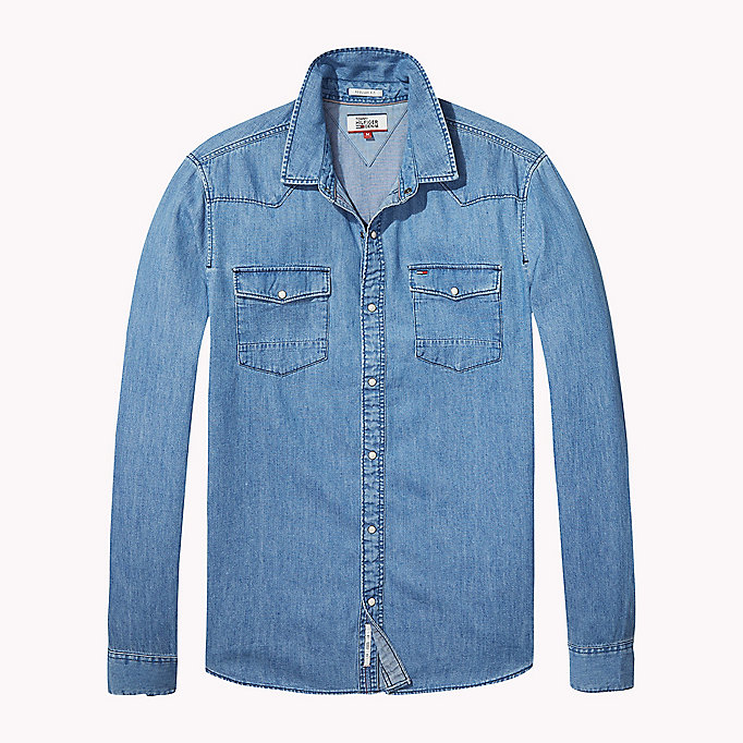 TOMMY JEANS Denim Regular Fit Shirt - LIGHT INDIGO - TOMMY JEANS Men - detail image 1