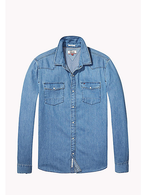 TOMMY JEANS Denim Regular Fit Shirt - MID INDIGO - TOMMY JEANS MEN - detail image 1