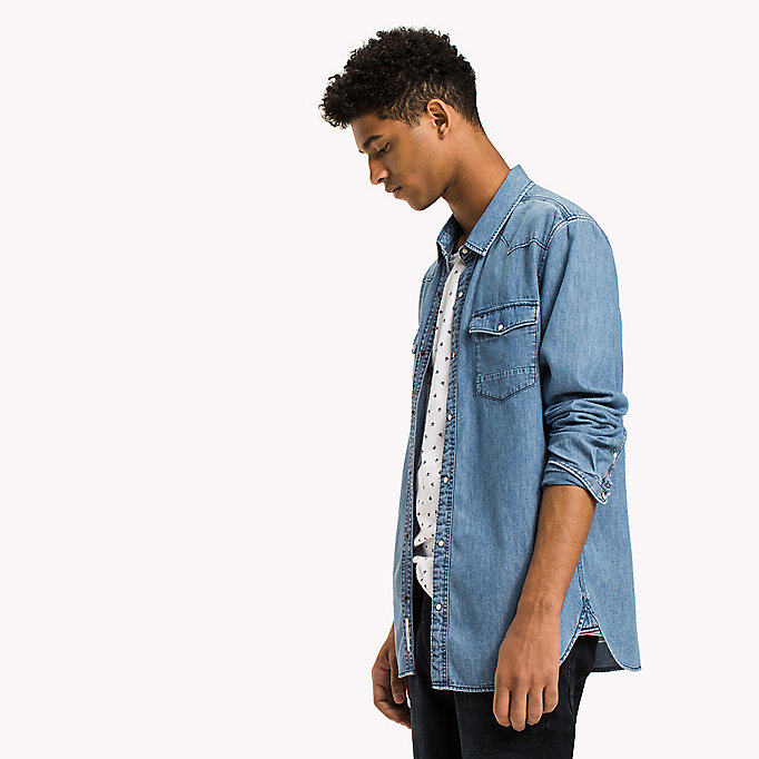 TOMMY JEANS Denim Regular Fit Shirt - LIGHT INDIGO - TOMMY JEANS Men - detail image 4