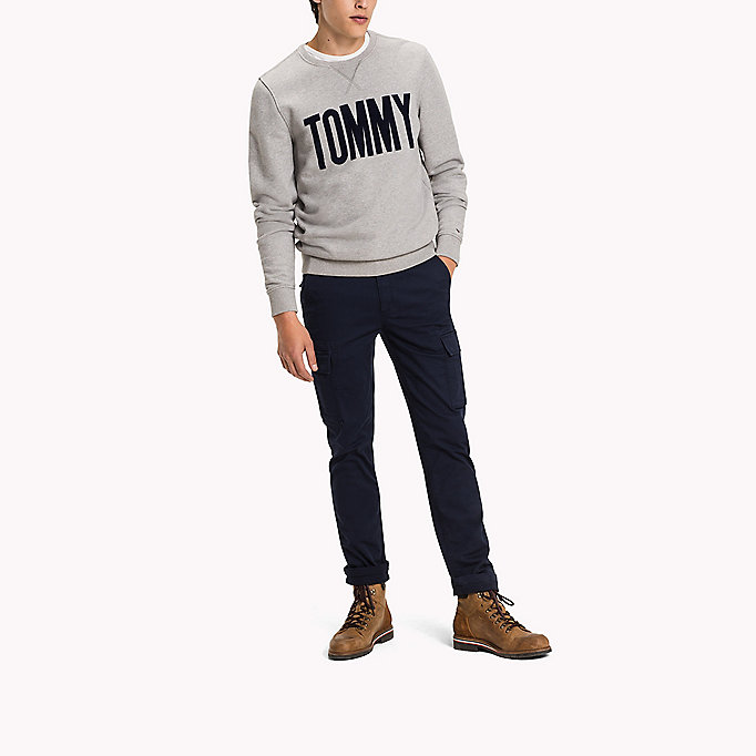 TOMMY JEANS Cotton Stretch Straight Fit Trousers - FOREST NIGHT - TOMMY JEANS Clothing - detail image 3