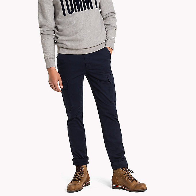 TOMMY JEANS Cotton Stretch Straight Fit Trousers - FOREST NIGHT - TOMMY JEANS Clothing - main image