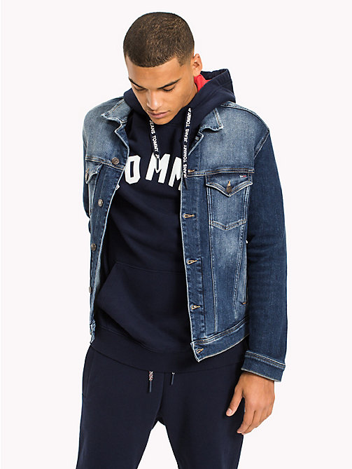 TOMMY JEANS Classic Denim Trucker Jacket - ILLINOIS MID BLUE STRETCH DESTRUCTED - TOMMY JEANS MEN - main image