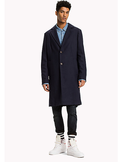 TOMMY JEANS Wool Blend Top Coat - BLACK IRIS - TOMMY JEANS Coats & Jackets - main image