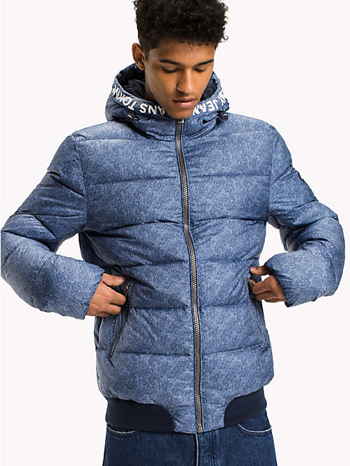 TOMMY JEANS Denim Printed Down Jacket - LT INDIGO PRINT - TOMMY JEANS Coats & Jackets - main image