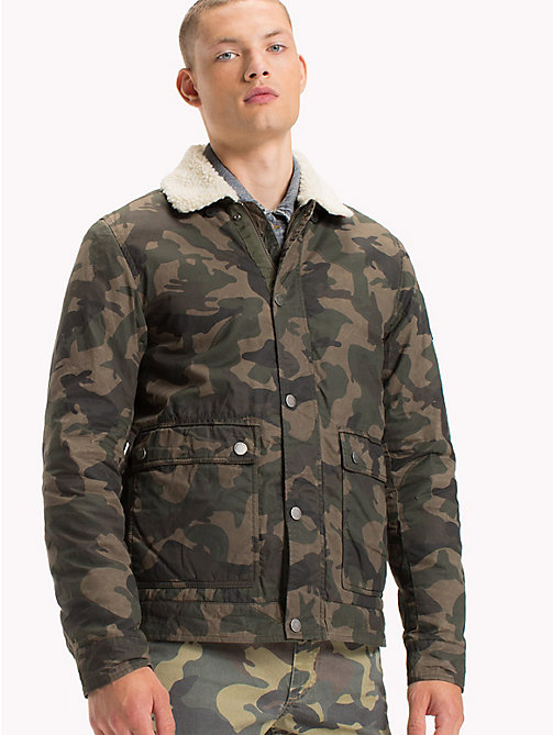 TOMMY JEANS Cotton Twill Sherpa Jacket - CAMO PRINT - TOMMY JEANS Coats & Jackets - main image
