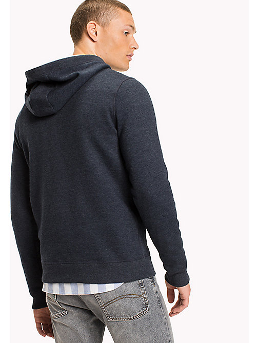 TOMMY JEANS Fleece Half Zip Hoodie - BLACK IRIS - TOMMY JEANS MEN - detail image 1