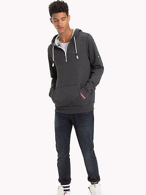 TOMMY JEANS Fleece Half Zip Hoodie - TOMMY BLACK - TOMMY JEANS Sweatshirts & Hoodies - main image