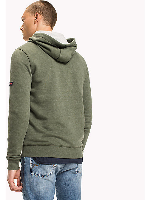 TOMMY JEANS Fleece Half Zip Hoodie - THYME - TOMMY JEANS MEN - detail image 1
