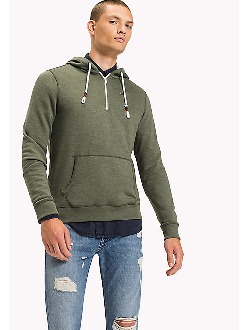 TOMMY JEANS Fleece Half Zip Hoodie - THYME -  Sweatshirts & Hoodies - main image