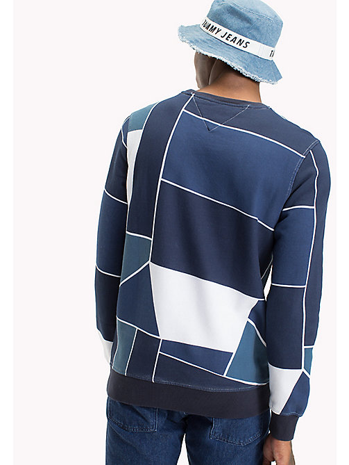 TOMMY JEANS Terry Crew Neck Sweatshirt - LT INDIGO / ABSTRACT FLAG PRINT - TOMMY JEANS MEN - detail image 1