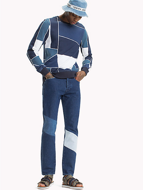 TOMMY JEANS Terry Crew Neck Sweatshirt - LT INDIGO / ABSTRACT FLAG PRINT - TOMMY JEANS MEN - main image