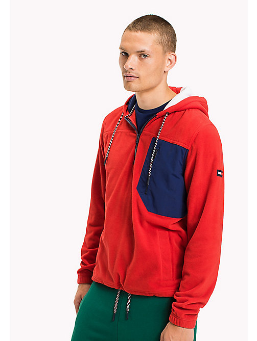 TOMMY JEANS Polar fleece hoodie met rits - RACING RED - TOMMY JEANS Sweatshirts & Hoodies - main image