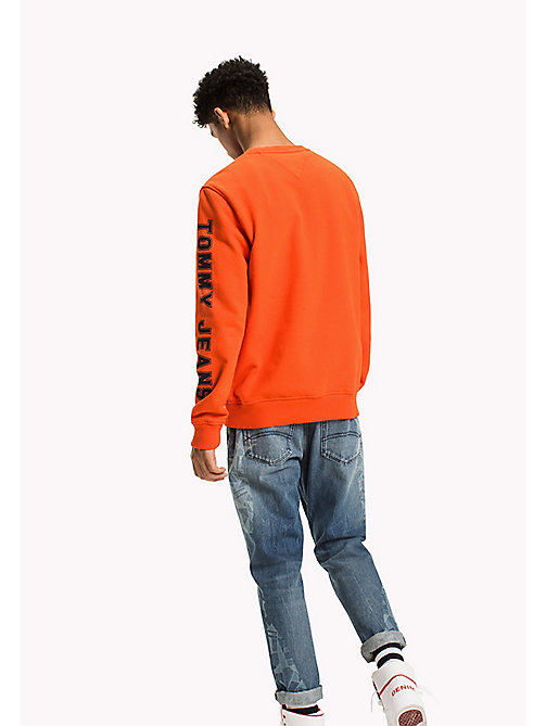 TOMMY JEANS Fleece Logo Sweatshirt - SPICY ORANGE - TOMMY JEANS Hoodies & Sweatshirts - detail image 1