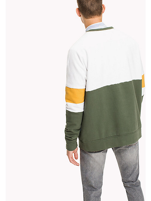 TOMMY JEANS Fleece Colour Block Sweatshirt - THYME / MULTI - TOMMY JEANS Sweatshirts & Hoodies - detail image 1