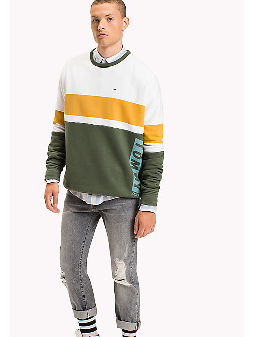 TOMMY JEANS Fleece Colour Block Sweatshirt - THYME / MULTI - TOMMY JEANS Sweatshirts & Hoodies - main image