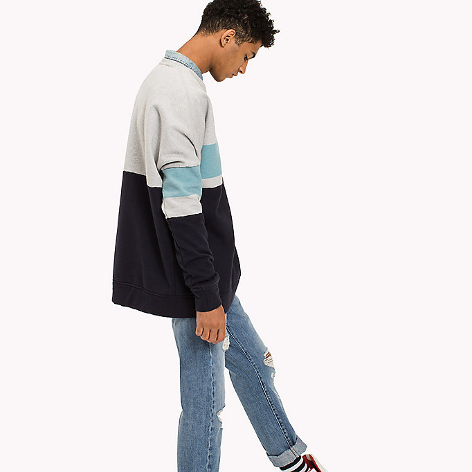 TOMMY JEANS Sweat color-block en polaire - THYME / MULTI - TOMMY JEANS Hommes - image détaillée 1