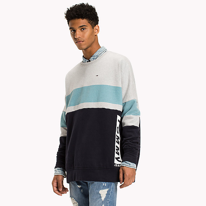 TOMMY JEANS Fleece Colour Block Sweatshirt - THYME / MULTI - TOMMY JEANS Men - detail image 3