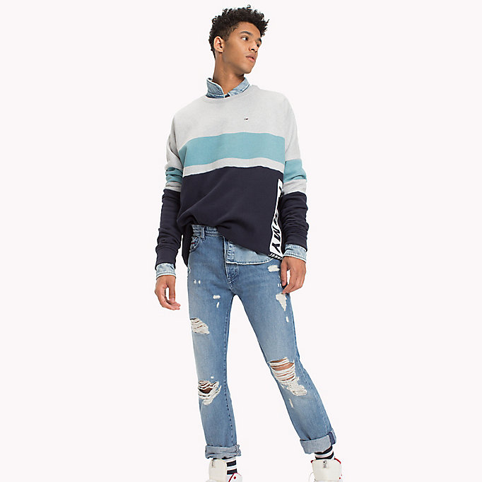 TOMMY JEANS Sweat color-block en polaire - THYME / MULTI - TOMMY JEANS Hommes - image principale
