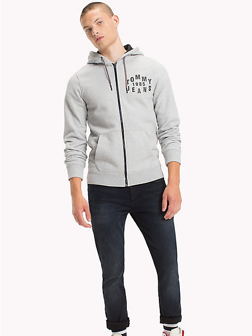 TOMMY JEANS Fleece Zip Hoodie - LT GREY HTR - TOMMY JEANS MEN - main image
