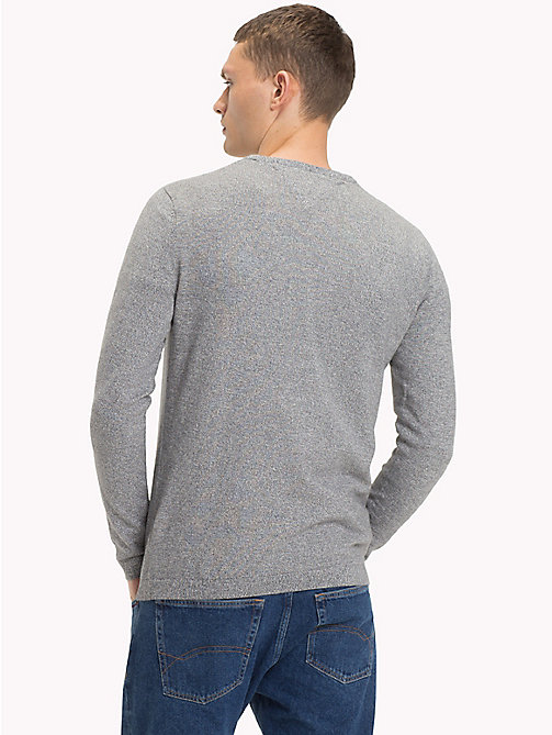 TOMMY JEANS Cotton Crew Neck Jumper - LT GREY HTR - TOMMY JEANS Knitwear - detail image 1