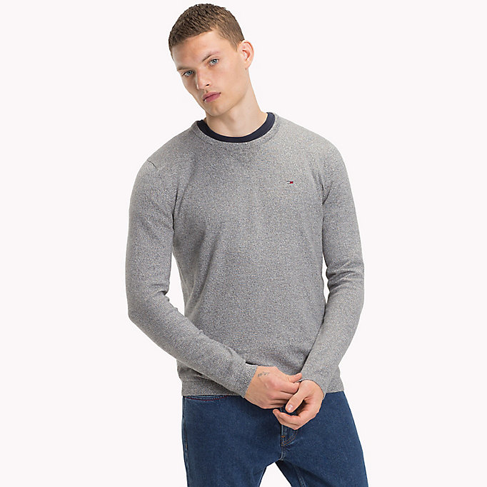 TOMMY JEANS Cotton Crew Neck Jumper - THYME - TOMMY JEANS Men - main image