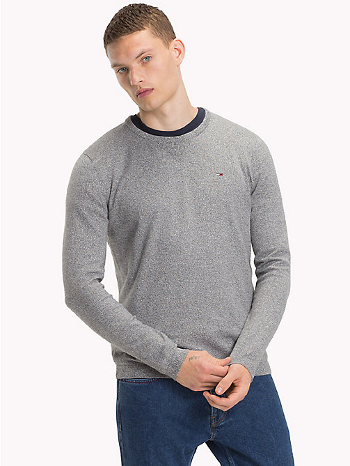 TOMMY JEANS Cotton Crew Neck Jumper - LT GREY HTR - TOMMY JEANS Knitwear - main image