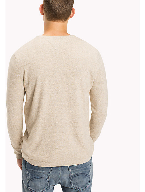 TOMMY JEANS Cotton Crew Neck Jumper - SESAME - TOMMY JEANS Knitwear - detail image 1