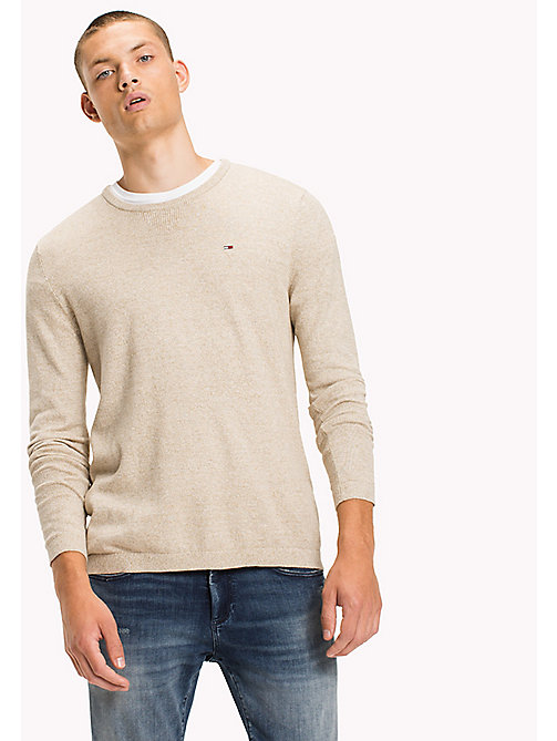 TOMMY JEANS Cotton Crew Neck Jumper - SESAME - TOMMY JEANS Knitwear - main image