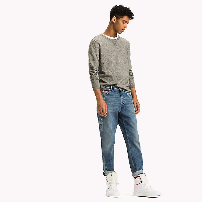 TOMMY JEANS Cotton Crew Neck Jumper - SESAME - TOMMY JEANS Men - main image