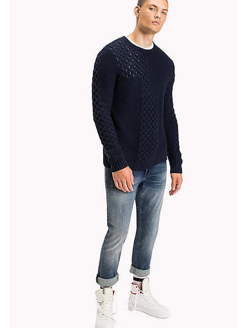 TOMMY JEANS Cotton Knit Jumper - BLACK IRIS - TOMMY JEANS Knitwear - main image
