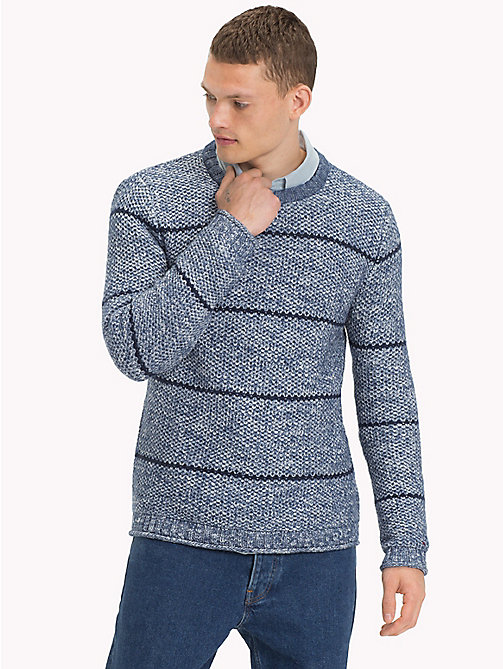 TOMMY JEANS Slub Cotton Striped Jumper - BLUE HORIZON MULTI - TOMMY JEANS Knitwear - main image