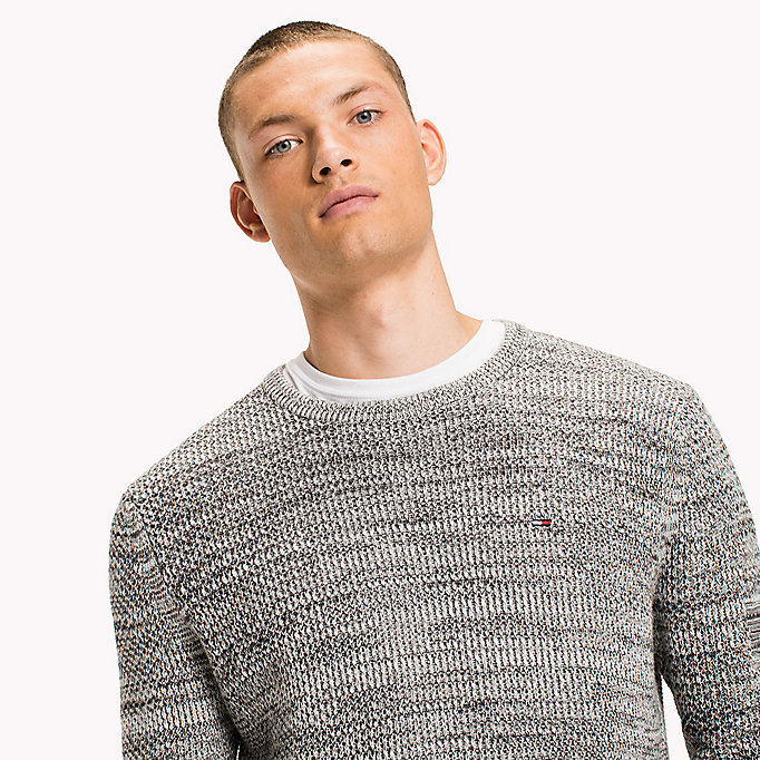 TOMMY JEANS Cotton Waffle Knit Jumper - THYME - TOMMY JEANS Men - detail image 2