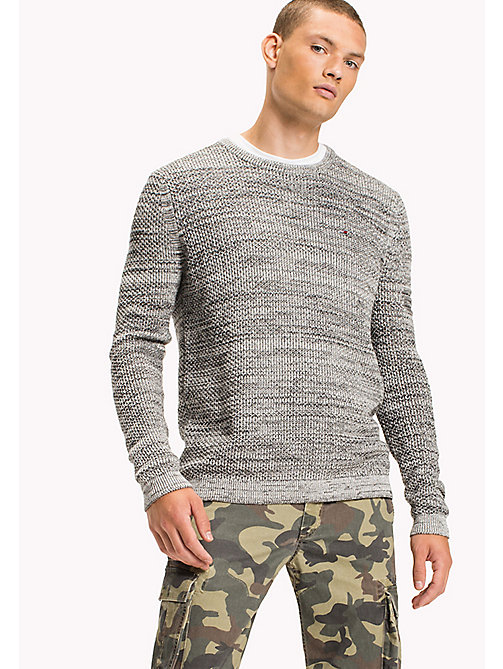 TOMMY JEANS Cotton Waffle Knit Jumper - LT GREY HTR - TOMMY JEANS Knitwear - main image