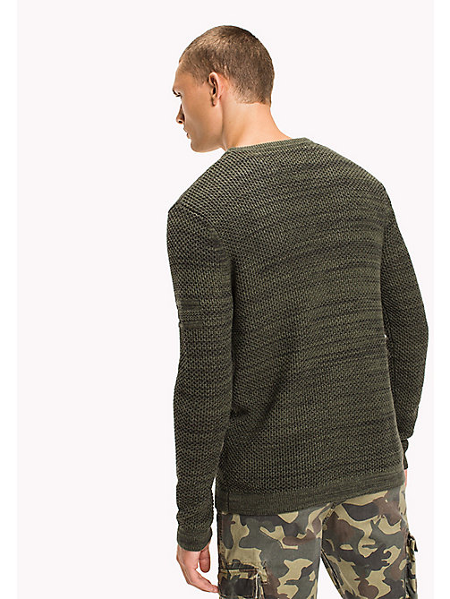 TOMMY JEANS Cotton Waffle Knit Jumper - THYME - TOMMY JEANS Knitwear - detail image 1