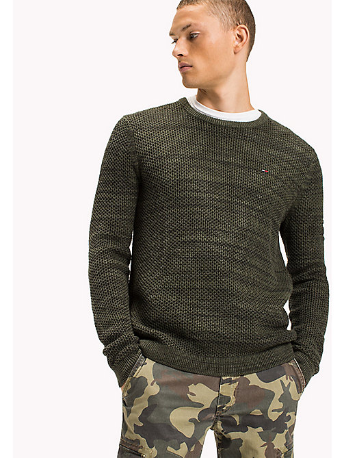 TOMMY JEANS Strickpullover mit Waffelmuster - THYME - TOMMY JEANS Pullover & Strickjacken - main image