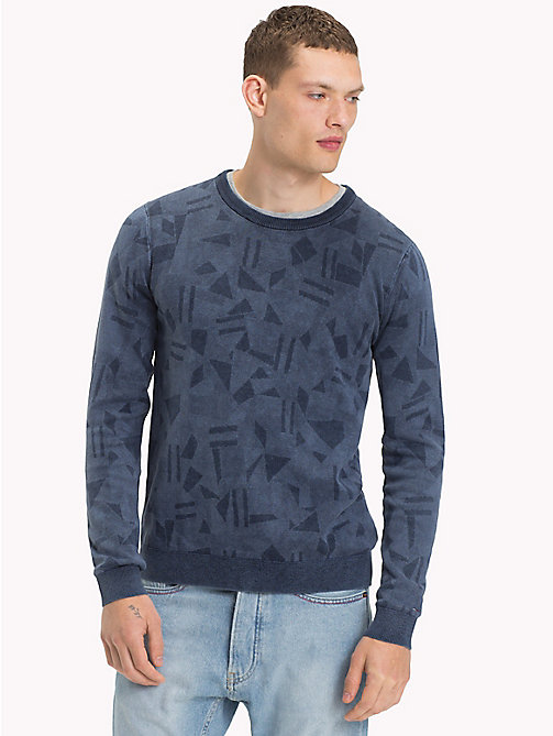 TOMMY JEANS Cotton Wool Blend Jumper - ABSTRACT FLAG PRINT - TOMMY JEANS Knitwear - main image