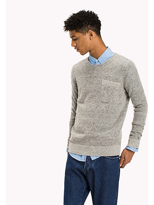 TOMMY JEANS Wool Blend Jumper - LT GREY HTR - TOMMY JEANS Knitwear - main image