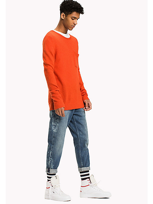 TOMMY JEANS Wool Blend Jumper - SPICY ORANGE - TOMMY JEANS Knitwear - main image