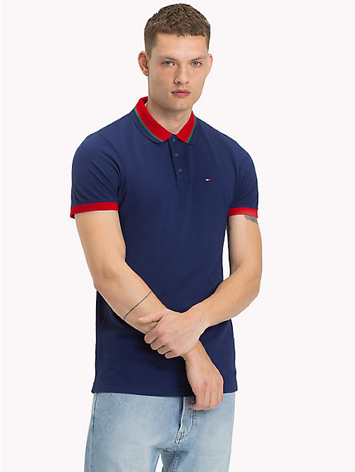 TOMMY JEANS Polo in piqué di cotone - BLUE DEPTHS - TOMMY JEANS Polo - immagine principale