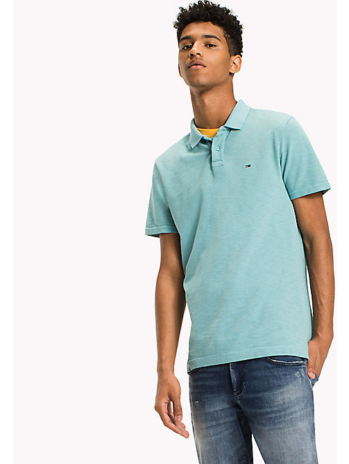 TOMMY JEANS Cotton Pique Polo - CAMEO BLUE - TOMMY JEANS Polo Shirts - main image