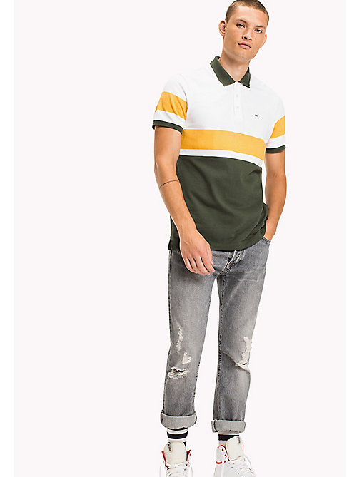 TOMMY JEANS Organic Cotton Polo - THYME / MULTI - TOMMY JEANS Polo Shirts - main image